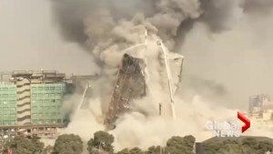 Dramatic video shows moment Tehran building collapses