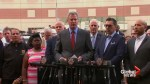 Mayor Bill de Blasio reacts to hospital shooting