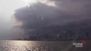 Ominous-looking storm passes over downtown Toronto