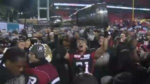 The Ottawa Redblacks celebrate a 39-33 Grey Cup win over the Calgary Stampeders