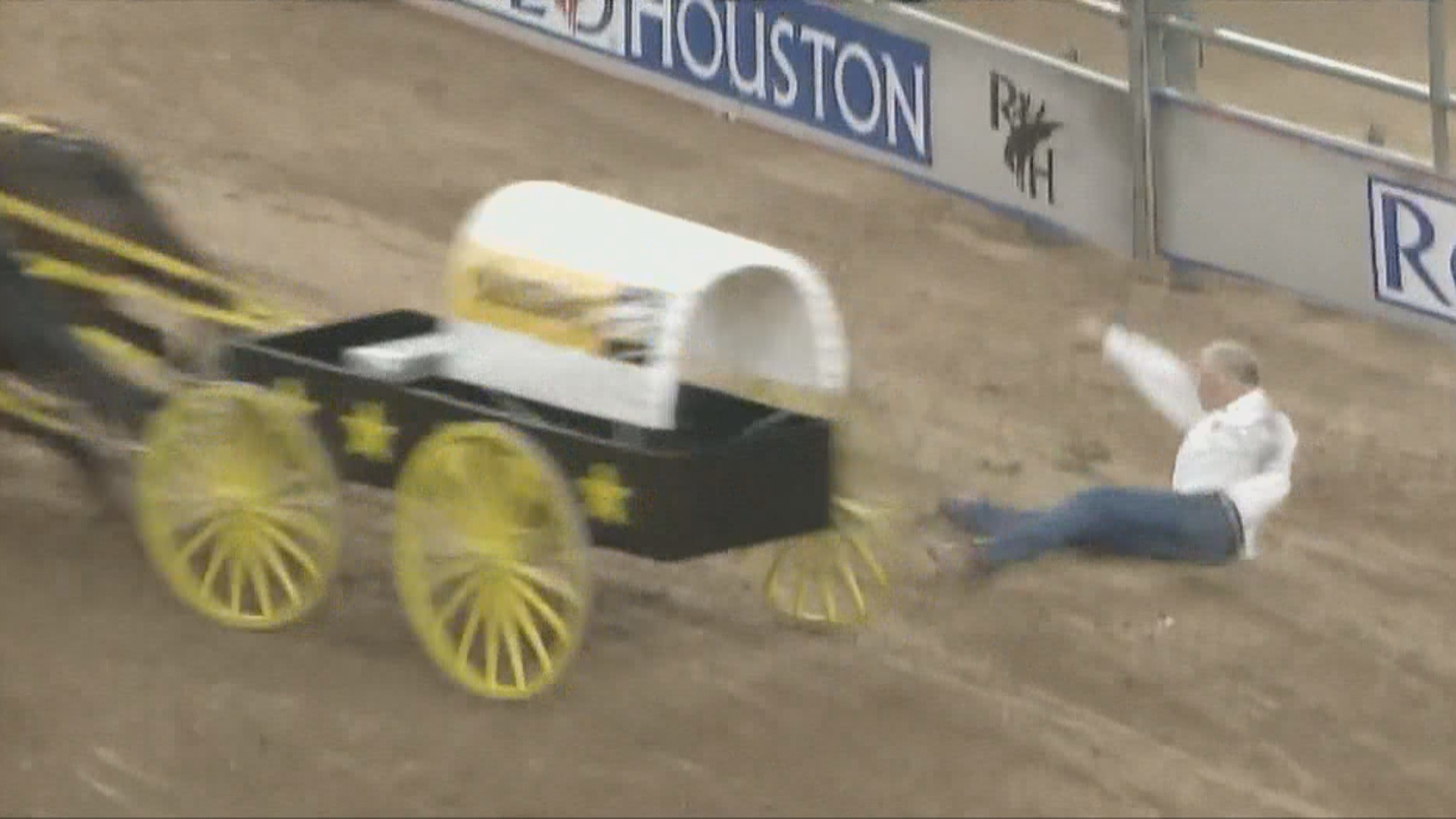 Chuck-wagon driver and horse injured in terrifying fall at Houston Rodeo