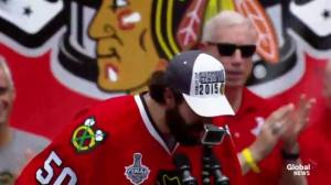 Corey Crawford drops another F-Bomb at Blackhawks Stanley Cup rally