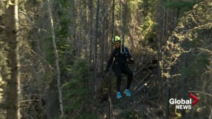 Zip lining at Saskatchewan's Elk Ridge Resort