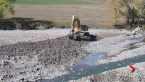 Heavy machinery caught on Oldman River