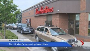 Tim Horton's removing garbage cans from drive-thru lanes