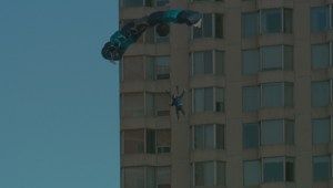 Basejumper promotes The Great Canadian FitFest in Edmonton