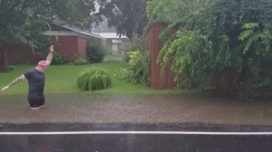 Man uses drainage ditch to swim like Olympic athlete