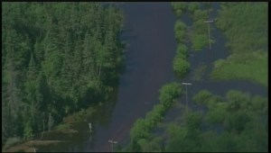 Road near Caddy Lake completely submerged