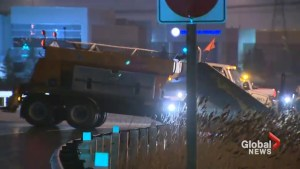 Freezing rain sends salter trucks sliding into guard rail