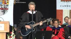 Jon Bon Jovi sings to Rutgers University graduates