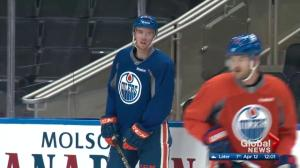 Oilers, Sharks lace up for practice before game 1