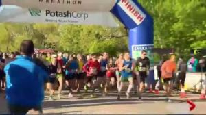 Runners getting ready for the Saskatchewan Marathon