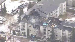 Aerial footage showing aftermath of west Edmonton apartment fire