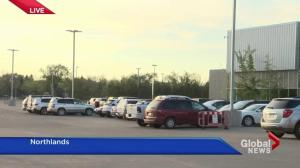 Fort McMurray residents arriving at Northlands Evacuation Centre