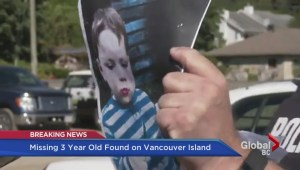 Missing three-year-old found on Vancouver Island