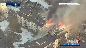 Fire crews remain on scene of west Edmonton apartment blaze