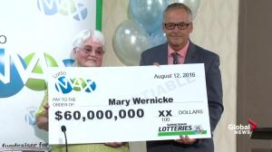 $60m cheque presented to Mary Wernicke of Neville, Sask. for winning Lotto Max jackpot