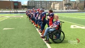 Women's football team honours paralyzed teammate