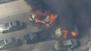 California wildfires cause car fires on busy highway