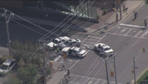 RAW: Aerials of shooting scene at Distillery District of Toronto