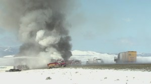 Two vehicle crash creates pileup in Wyoming