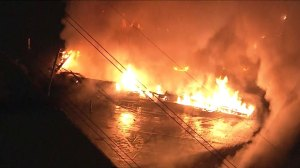RAW: Dramatic video shows two-alarm warehouse fire in Pennsylvania