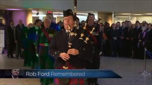 Stirring bagpipes as Rob Ford's funeral procession begins