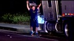 Footage of police arresting suspect in big rig truck theft