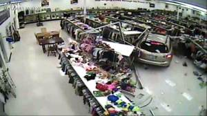 Footage shows SUV crashing into Goodwill store