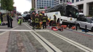 One dead, two injured after tour bus hits multiple people near Canada Place