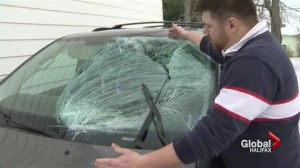 Sackville man lucky, after a chunk of ice smashes windshield.