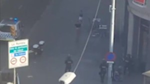 Video shows pedestrians with their arms raised being evacuated by Barcelona police