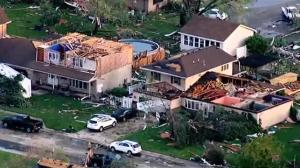 Aerial footage shows aftermath of devastating tornado in Coal City, Illinois