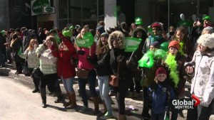 Protesters clash with Montreal Irish