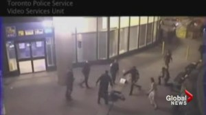 Surveillance footage shows violent brawl by CN Tower that started over a hot dog