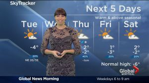 Global News Morning weather forecast: Tuesday, January 17