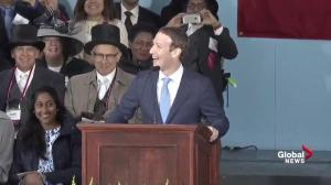 Mark Zuckerberg jokes at his own expense during Harvard address
