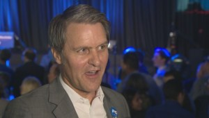 PC Cameron Friesen re-elected in Morden-Winkler, speaks with Global News after win