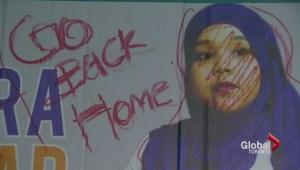 Hateful language sprawled on Toronto council candidate's signage