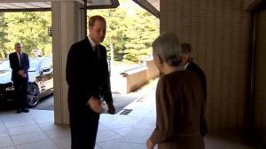 Prince William greeted by Japanese Emperor Akihito outside Imperial Palace