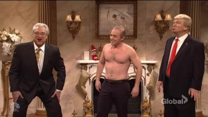 Shirtless Vladimir Putin visits Donald Trump for Christmas on 'SNL'