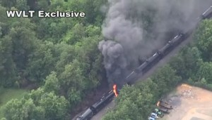 RAW: Aerial view of rail tankers on fire in Tennessee