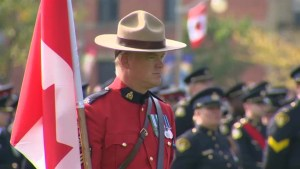 Footage of the national police memorial commemorating fallen police officers