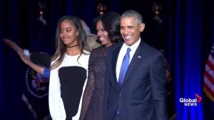 Obamas wave goodbye following president's farewell speech