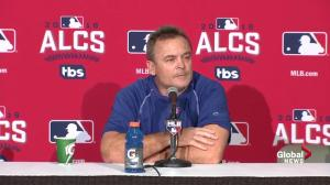 Does John Gibbons agree with Jose Bautista about unfair officiating during the ALCS?