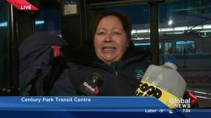 Edmonton Transit employee on the Stuff a Bus Campaign
