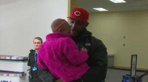 Leah Still's emotional meeting with her father at the airport prior to game