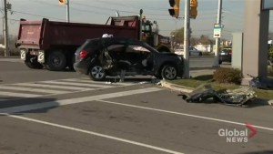 One dead, two injured after vehicle and dump truck collide in Mississauga