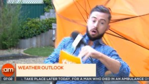 News anchors can't stop laughing as weatherman blown away on live TV