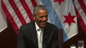 Barack Obama makes first major appearance since leaving office
